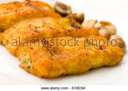 cheese spinach stuffing stuffed fillet potato potatoe chestnut food aliment - Stock Photo