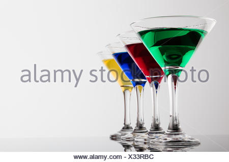color cocktails in line - Stock Photo