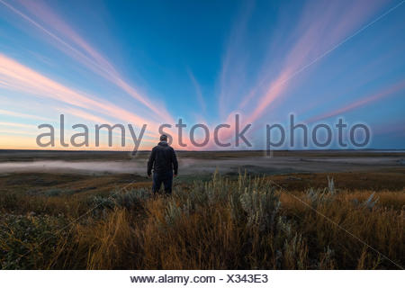 A man stands watching watching the sunrise colour over the Frenchman River Valley in Grasslands National Park; Saskatchewan, Canada - Stock Photo