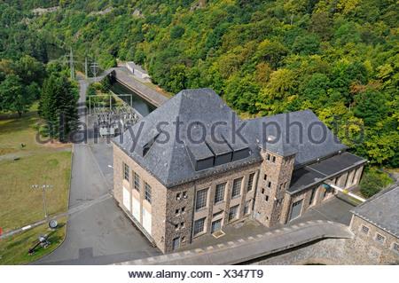 Dam, Edersee lake, Eder reservoir, power plant Hemfurth, Waldeck, Hesse, Germany, Europe - Stock Photo