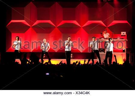 German reggae, dancehall, hip-hop music group Culcha Candela performing live at Soundcheck Open Air in Sempach-Neuenkirch - Stock Photo