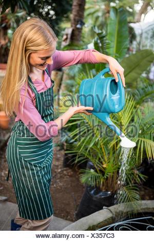 Happy young gardener watering plants at garden - Stock Photo