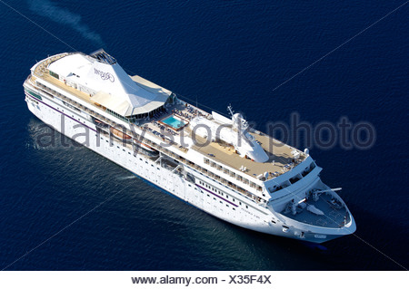 Aerial view of cruise liner. - Stock Photo