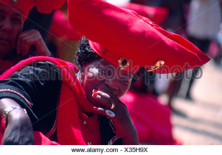 Herero woman, wearing traditional clothing, Namibia, Okahandja, Aug 95. - Stock Photo