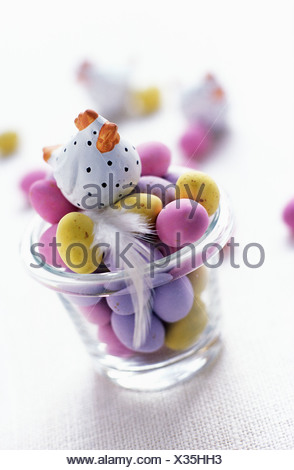 Mini Easter eggs in glass - Stock Photo