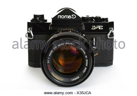 Professional SLR camera system, Canon F-1, 1972 - Stock Photo