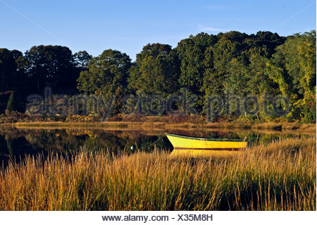 Rowboat anchored in a coastal inlet, Cape Cod, Massachusetts, USA - Stock Photo