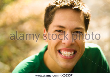 Willmar, Minnesota, United States Of America; A Young Man With A Big Smile - Stock Photo