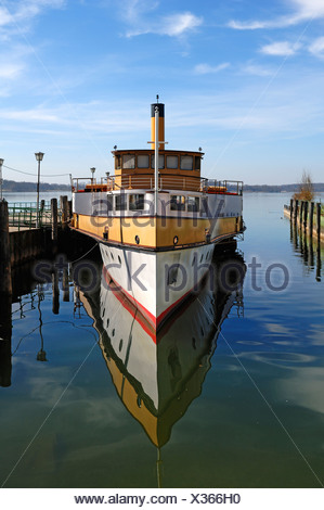 Old paddle steamer 'Ludwig Fessler', built in 1926, anchoring in the harbor of Stock near Prien, Bavaria, Germany, Europe - Stock Photo