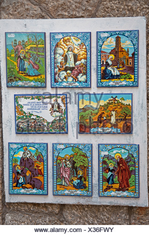 Images of saints on tiles, Valldemossa, Comarca Serra de Tramuntana region, Majorca, Balearic islands, Spain, Europe - Stock Photo