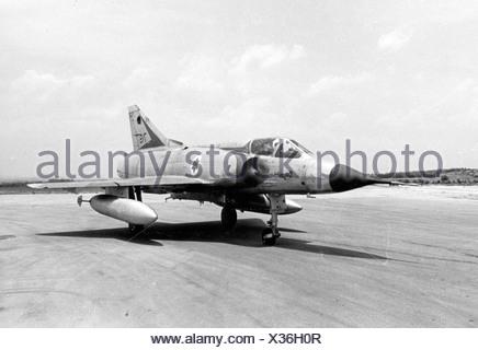 Israeli Air Force Dassault Mirage IIICJ fighter plane - Archival Black and white Image  - Stock Photo