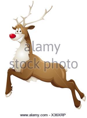 grinning reindeer - Stock Photo