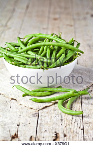 green string beans in a bowl - Stock Photo