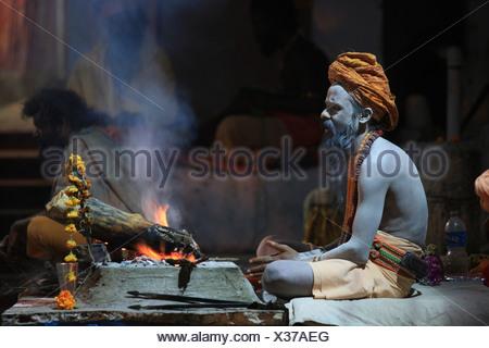 Sadhu, Pushkar, Rajasthan, India, Asia, holy man, yogi, ascet, ascetic, ashram, pilgrim, ashes, turban, flower, meditation - Stock Photo