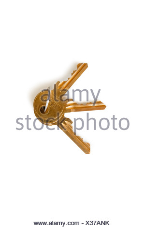 Set of keys over white background - Stock Photo