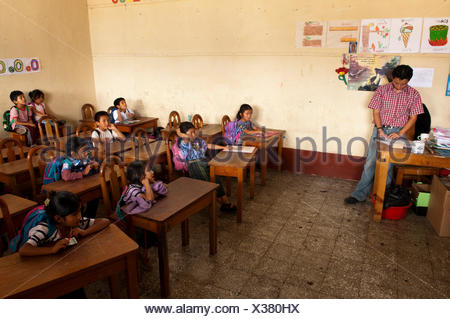 School of Santiago Atitlan, Lago de Atitlan, Guatemala, Central America - Stock Photo