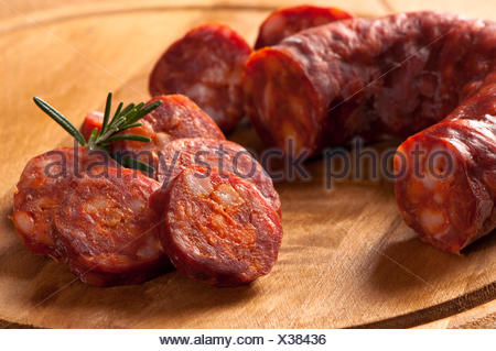 sausage sliced slices - Stock Photo