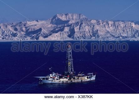 Drillship Working in the Gulf of Suez Stock Photo