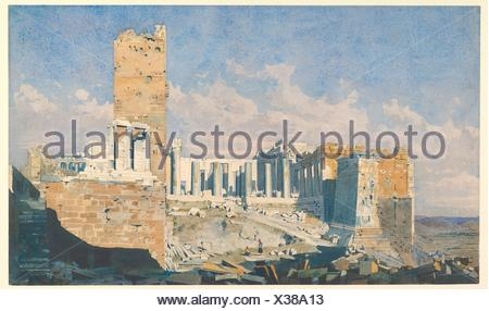 The Acropolis from the West, with the Propylaea and the Temple of Athena Nike, Athens. Artist: Thomas Hartley Cromek (British, London 1809-1873 - Stock Photo
