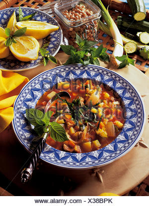 Lamb and vegetables soup, Libya, recipe available for a fee - Stock Photo
