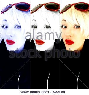 Multiple Image Of Beautiful Woman With Red Lipstick Against White Background - Stock Photo