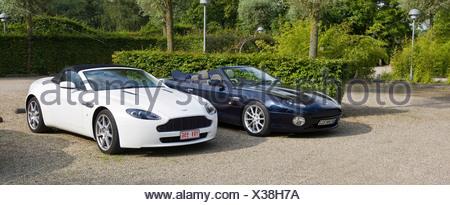 Aston Martin V8 Vantage Roadster, Aston Martin DB7 Vantage Volante - Stock Photo