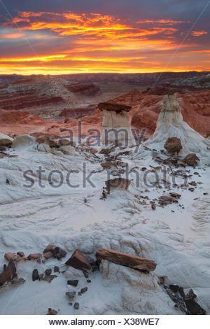 Paria Rimrocks, Toadstool Hoodoos in Grand Staircase-Escalante, Utah - Stock Photo