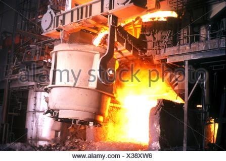 Steel furnace at SAIL Steel Authority of India Ltd plant Bokaro Jharkhand India