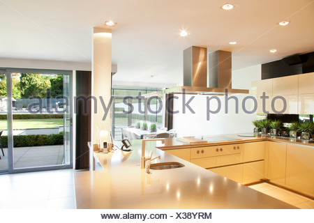 Counters and stove in modern kitchen - Stock Photo