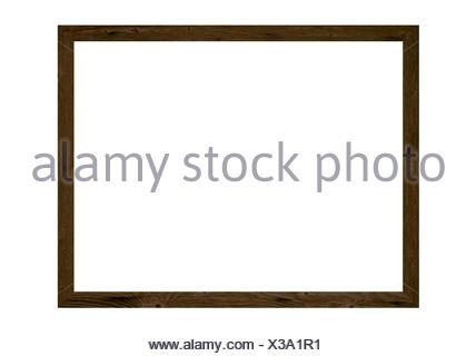 Dunkelbrauner leerer Holzrahmen auf weißem Hintergrund - Stock Photo