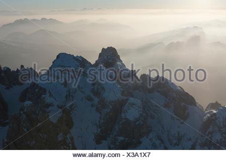 The aerial view of the Cimon della Pala and Vezzana peak. Paneveggio natural park, Pale di San Martino groups. Dolomites. Trento province, Trentino Alto Adige region. Italy, Europe - Stock Photo