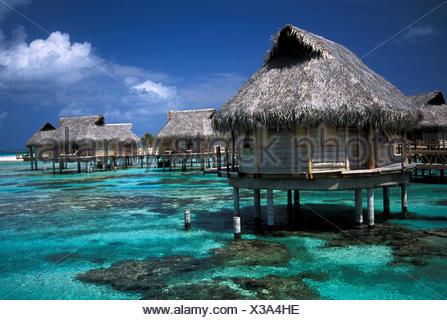 French Polynesia, Tuamotu Islands, Tikehau, Pearl Beach Resort, Bungalows On Clear Water - Stock Photo