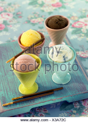 Different flavored scoops of ice cream - Stock Photo