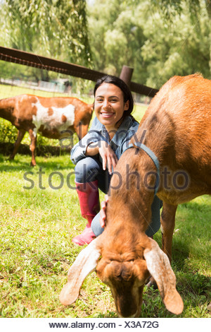 An organic farm in the Catskills. A woman with two large goats. - Stock Photo