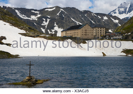 View at Hospice du Grand-Saint-Bernard over the lake, Great St Bernard Pass, Col du Grand-Saint-Bernard - Stock Photo