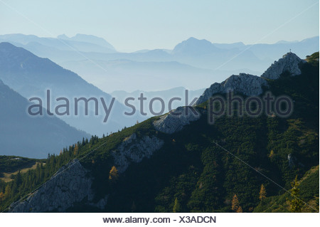 View from Jenner mountain into Salzburger Land (Salzburg State), Berchtesgaden, Upper Bavaria, Germany - Stock Photo