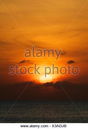 Orange Ocean Sunset - Stock Photo