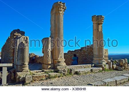 Roman archaeological Site Volubilis, Middle Atlas, Morocco. - Stock Photo