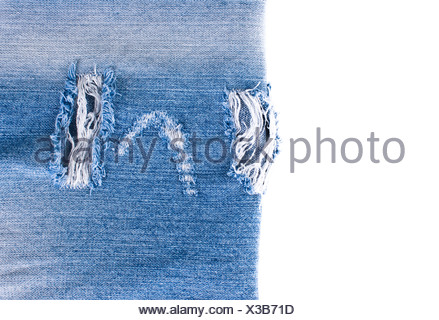 blue denim jeans texture over white background - Stock Photo