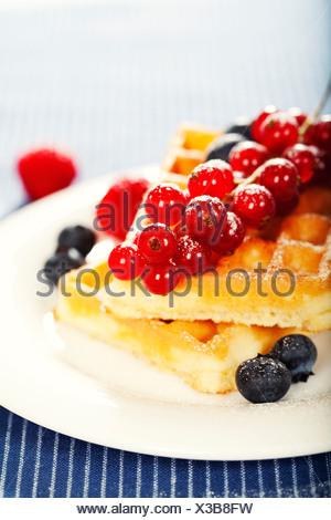breakfast : waffles with fresh berries - Stock Photo
