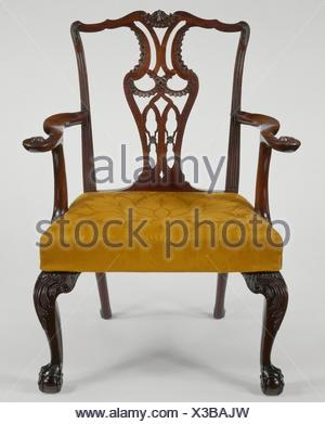 Armchair. Date: 1770-90; Geography: Made in New York, United States; Culture: American; Medium: Mahogany, red oak, sweet gum, ash; Dimensions: 39 1/2 - Stock Photo