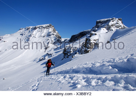 Alps, alpine, alpinisme, mountains, snow, ski, ski tour, winter, woman, footbridge horn, Wildstrubel, Bernese Oberland, winter s - Stock Photo