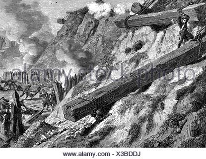 War of the Forth Coalition 1806 - 1807, siege of Danzig, 19.3 - 24.5.1807, French engineers in action, wood engraving, 19th century, Additional-Rights-Clearences-NA - Stock Photo
