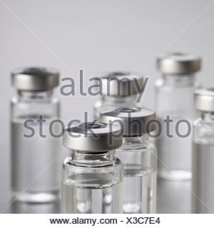 Vaccine vials, close up. - Stock Photo