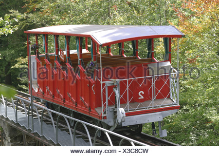 Hotel Giessbach funicular above Lake of Brienz (Bernese Oberland, Switzerland). - Stock Photo