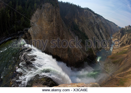 USA, Wyoming, Yellowstone National Park, Brink of Lower Falls of Yellowstone River, Grand Canyon of Yellowstone - Stock Photo