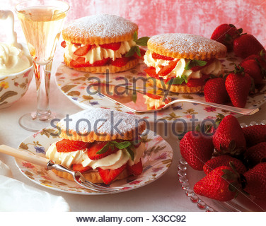 Fine strawberry tartlets, USA, recipe available for a fee - Stock Photo