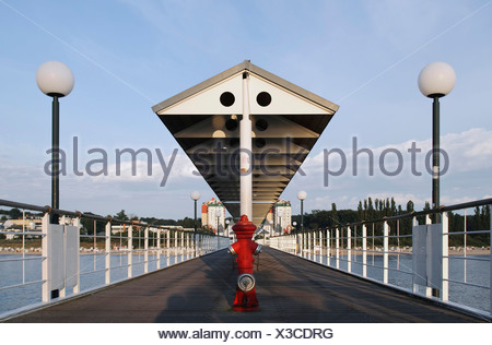 Pier in the Heringsdorf seaside resort, Usedom Island, Mecklenburg-Western Pomerania, Germany, Europe - Stock Photo
