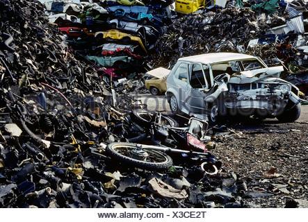 Scrap yard with car wreck, totalled car, VW Golf, Essen, North Rhine-Westphalia, Germany, Europe - Stock Photo
