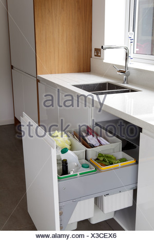 Waste and recycling bins in a drawer - Stock Photo